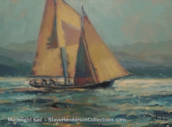 sailboat sailing sail moonlight water steve henderson blue art