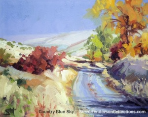 country road autumn blue sky rural travel steve henderson painting art