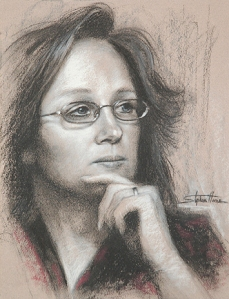 "That's me (technically, ""That's I""), the dumb housewife. I wear glasses so I look smarter. No, actually I wear glasses so that I can see. Portrait by Steve Henderson of Steve Henderson Fine Art."