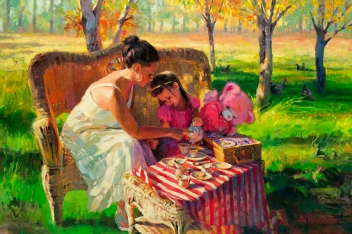 Eating healthfully is a lifestyle that, actually, involves more than just food. Afternoon Tea, original oil painting by Steve Henderson, licensed wall art home decor at Great Big Canvas, iCanvas, AllPosters, Art.com, Amazon, and Framed Canvas Art.