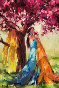 It's springtime, generally not the time we want to be on the sofa, coughing, with a cold. Blossom, original oil painting by Steve Henderson