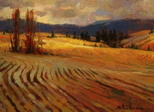 Gjetost is a warm, rich, gold color -- along the lines of the hues in this painting, Break in the Weather by Steve Henderson. Available as an original or limited edition print.
