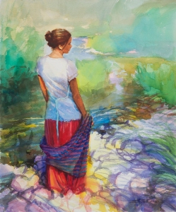 Knitting is a fairly solitary, contemplative occupation. Riverside Muse, original watercolor by Steve Henderson