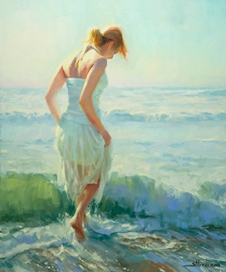 This particular painting would look stunning next to the wine glasses and serving platters. Gathering Thoughts by Steve Henderson.