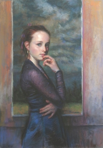 College Girl. Original pastel portrait, On the Verge, by Steve Henderson