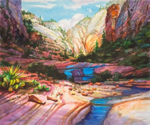Where is the day's road taking us? Blue Ribbon, original watercolor by Steve Henderson