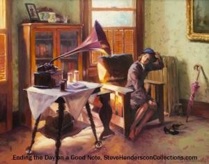 nostalgia 1940 vintage woman victrola victorian art steve henderson