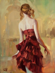 To move gracefully, all of our body needs to be working well together. Girl in a Copper Dress 2, original available at Steve Henderson Fine Art; open edition art print at Great Big Canvas. 1 of 3 in the Girl in a Copper Dress series.