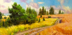 The road we walk each day takes us not just to work and back, but to our studio, our hobby room, our garden, where we create. Off the Grid, original oil painting by Steve Henderson