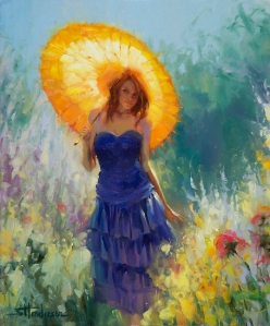 This, dear reader, is how I prefer to think of the garden -- a beautiful place. Promenade, original and signed limited edition print at Steve Henderson Fine Art; licensed open edition print at Great Big Canvas