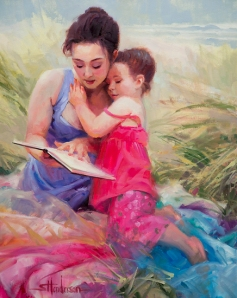 Love, cherish, protect -- we are gentle and kind with the little people in our care. Seaside Story -- original sold, signed limited edition print available at Steve Henderson Fine Art, open edition fine art print at Great Big Canvas and Light in the Box