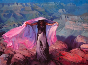 Yes, we fit 30 fairly good sized paintings, like this one, in a Honda Fit. She Danced by the Light of the Moon, original painting through Steve Henderson Fine Art; licensed open edition fine art print through Great Big Canvas