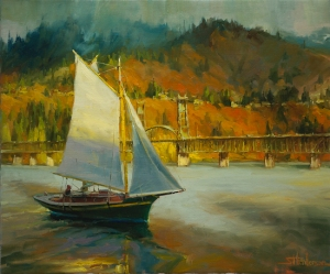 When you're in survival mode, you sail a bit along the current and see where it takes you each day. Autumn Sail, original painting by Steve Henderson, sold; licensed open edition print at Great Big Canvas