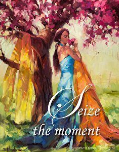 Take what you have, and run with it. Seize the Moment poster, based upon Blossom original painting by Steve Henderson.