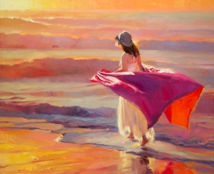 How beautiful you are -- uniquely you, walking the path set before you. Catching the Breeze, original oil painting and signed limited edition print by Steve Henderson Fine Art; licensed open edition print at Great Big Canvas.