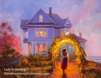 lady waiting sunset coast victorian home purple steve henderson