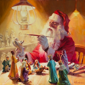 """These gifts are greater than toys."" Original oil painting, 24 x 24, by Steve Henderson. Signed limited edition prints and open edition prints will be available soon."