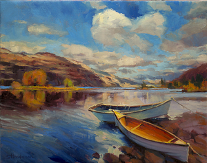 "If there is any ""secret"" to saving money and living well, it's this -- use what you've got. If it's yacht, use the yacht; if it's a rowboat, use the rowboat. Shore Leave, original at Steve Henderson Fine Art; licensed open edition print at Great Big Canvas."