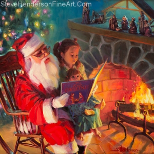 Story time is magical time, building memories that last throughout life. Christmas Story, original oil painting and signed limited edition print by Steve Henderson.
