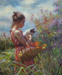 Children are FUN, and it's best to recognize that before they all grow up and go away. Garden Gatherings, signed limited edition print by Steve Henderson of Steve Henderson Fine Art.