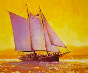 Every day is an adventure, sailing into the sea of life. Golden Sea, original oil painting at Steve Henderson Fine Art; Licensed, open edition art print at Great Big Canvas.