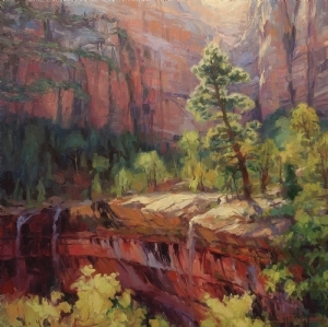 Steve Henderson has been painting for a long time, and it shows -- in his skill and mastery with paint and the brush. Last Light in Zion, licensed open edition print at Great Big Canvas