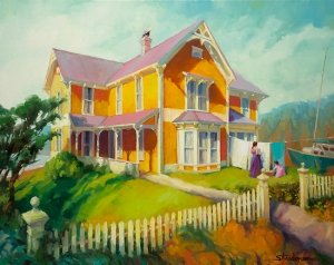 Houses do not build themselves, and when you do it yourself, you work hard for something you'll be very grateful for later. Sophie and Rose, original oil painting and signed limited edition print at Steve Henderson Fine Art; licensed open edition art print at Great Big Canvas.