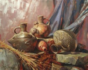"Were the people who used these pots poor? Or were they ""normal"" for their time? Chimu, original oil painting sold; signed limited edition print available at Steve Henderson Fine Art."