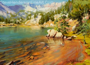 Crystalline Waters -- newest original oil painting by Steve Henderson -- 12 x 16 on panel, 15 x 19 framed. Shipping is free to the U.S. and Canada.
