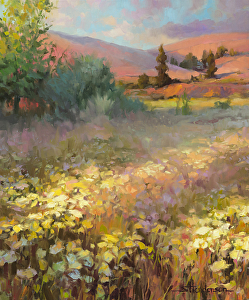 Lush and beautiful, like this Field of Dreams, is NOT how the Israeli land looked like after the Midianites camped there. Field of Dreams original oil painting by Steve Henderson of Steve Henderson Fine Art.