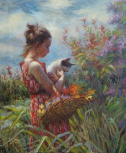 So sweet, so innocent, so familiar with James Bond movies. Garden Gatherings, original oil painting and signed limited edition print by Steve Henderson.