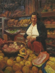 Food is a beautiful gift and a resource. The  Fruit Vendor, original oil painting by Steve Henderson, sold