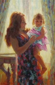 As Christians, showing compassion means that we hold one another up in an embrace of caring and grace. Madonna and Toddler, original oil painting by Steve Henderson of Steve Henderson Fine Art.
