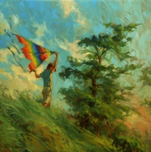 It's been awhile since he was a little boy, but don't they always stay that way in our minds and hearts? Summer Breeze, original oil painting at Steve Henderson Fine Art.