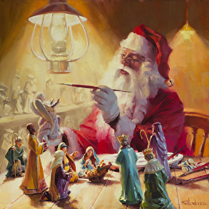 From the original to a greeting card, Steve's Christmas paintings can be a part of your holidays. These Gifts Are Better Than Toys by Steve Henderson.