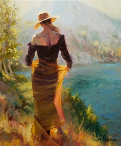 Getting away from the crowd can take us to pristine, awe inspiring places. Lady of the Lake, original oil painting by Steve Henderson; licensed open edition art print at Great Big Canvas.