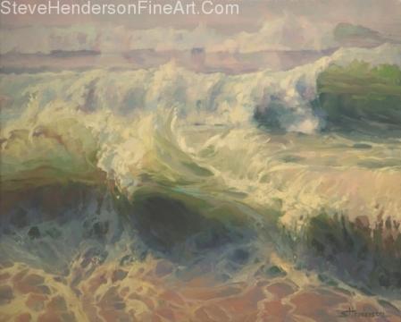 Whitewater original painting of ocean waves by Steve Henderson