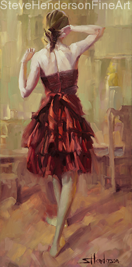 Girl in a Copper Dress original oil painting and licensed print by Steve Henderson