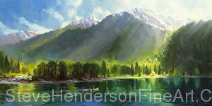Peace original oil painting and licensed print of wallowa lake and mountains by Steve Henderson