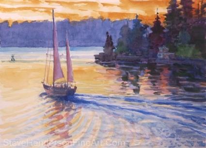 Sailing on the Sound original watercolor painting by Steve Henderson