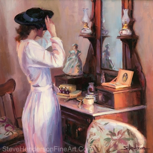 The New Hat inspirational 1940s nostalgia original oil painting young woman or gilr in dress by mirror by Steve Henderson