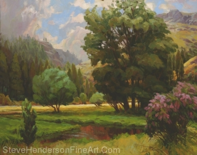 The Quiet Place of trees in the Wallowa mountains, original oil painting by Steve Henderson