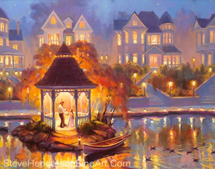 Autumn Dance oil painting of man and girl in gazebo by lake and Victorian house by Steve Henderson