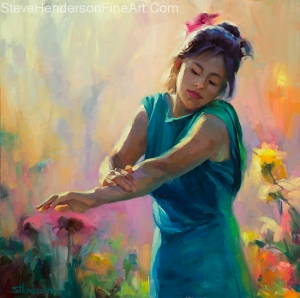 Enchanted inspirational oil painting of young woman girl in green dress in sunlight and garden by Steve Henderson