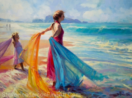 Into the Surf inspirational oil painting of girl woman and child at beach with fabric in surf by Steve Henderson