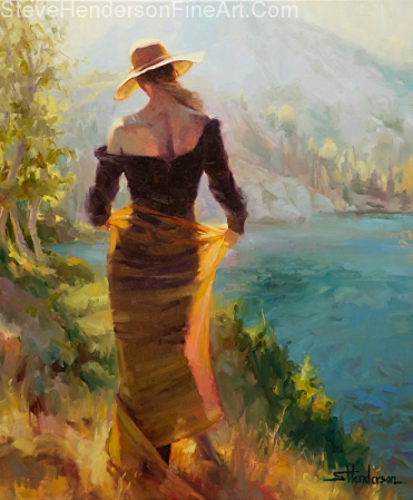 Lady of the Lake woman in gold skirt and hat standing by water in mountains original oil painting by Steve Henderson