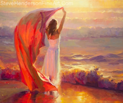 Ocean Breeze oil painting of woman with red cloth on beach at sunset by Steve Henderson
