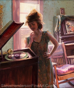 Phonograph Days inspirational 1940s nostalgia oil painting of young woman listening to music in piano room wearing hat and based on Gladys Boldman by Steve Henderson
