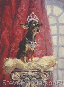 Ruby inspirational oil painting of Chihuahua with crown on pillow by Steve Henderson