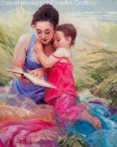 Seaside Story inspirational original oil painting of young woman and little girl on ocean beach reading book by Steve Henderson